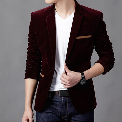 Mens Blazer Brand Clothing Casual Suit Slim Jacket Single Button Corduroy Blazer Men Dress-Suits & Blazers-Shop221391 Store-Black-XS-EpicWorldStore.com