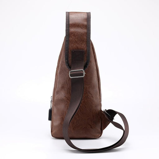 Mens Crossbody Bags Mens Usb Chest Bag Designer Messenger Bag Leather Shoulder Bags Diagonal-Waist Packs-morrysalee Designer Store-Black-16x34x10cm-EpicWorldStore.com