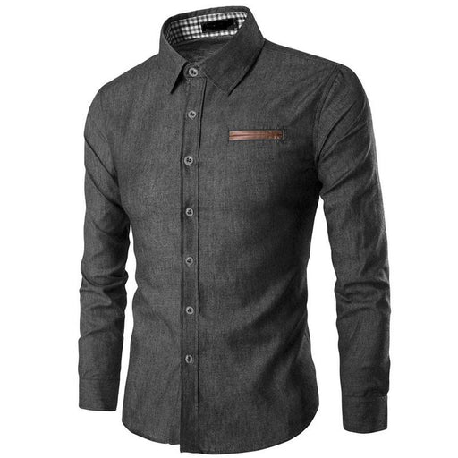 Mens Long Sleeve Male Shirt Cotton Business Slim Fit Shirt Casual Shirt-Home-ZogaaUnique Store-light blue-S-EpicWorldStore.com