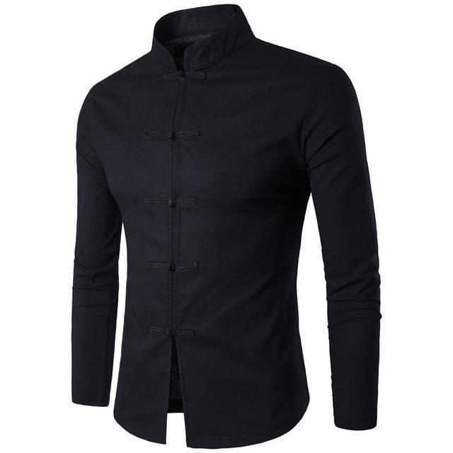 Mens Shirt Chinese Tradition Style Male Solid Color Mandarin Collar Business Long Sleeve-Wedding Party Dress-style001 Store-black-Asia size M-EpicWorldStore.com