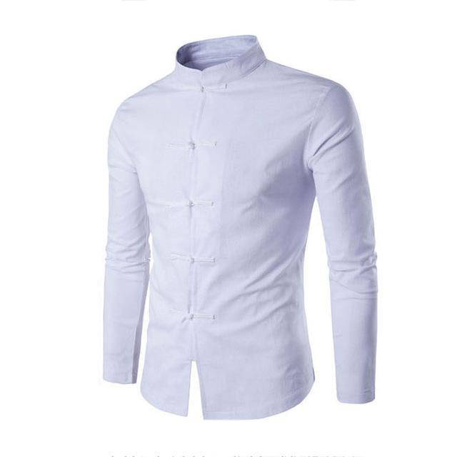 Mens Shirt Chinese Tradition Style Male Solid Color Mandarin Collar Business Long Sleeve-Wedding Party Dress-style001 Store-White-Asia size M-EpicWorldStore.com