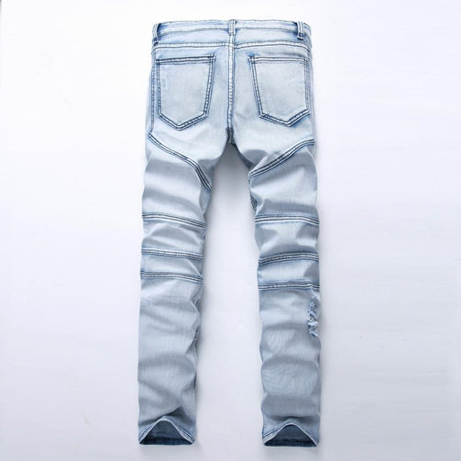 Mens Skinny Jean Distressed Slim Elastic Jeans Denim Pants Washed Ripped-Jeans-GMANCL Official Store-28-EpicWorldStore.com