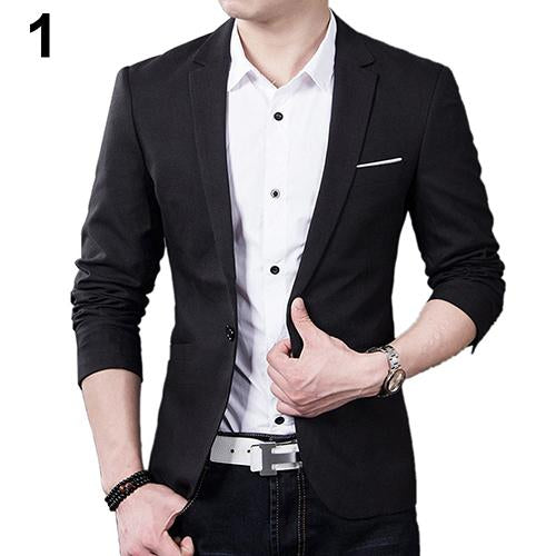 Mens Slim Blazer Formal Business Suit One Button Lapel Long Sleeve Pockets Top-Suits & Blazers-sky town Store-Black-S-EpicWorldStore.com