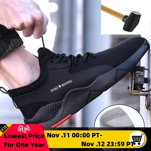 Mens Steel Toe Work Safety Shoes Casual Breathable Outdoor Sneakers Puncture Proof Boots Comfortable-Work & Safety Boots-menboots Store-Black-35-EpicWorldStore.com