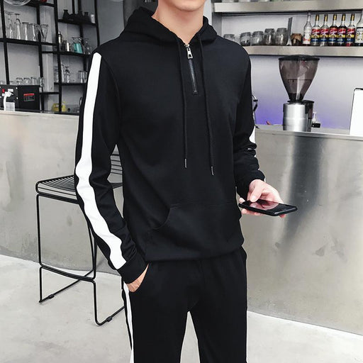 Mens Track Suit Sweatshirt And Joggers Pants Cotton Pullover-Men's Sets-YWSRLM men Store-1-M-EpicWorldStore.com
