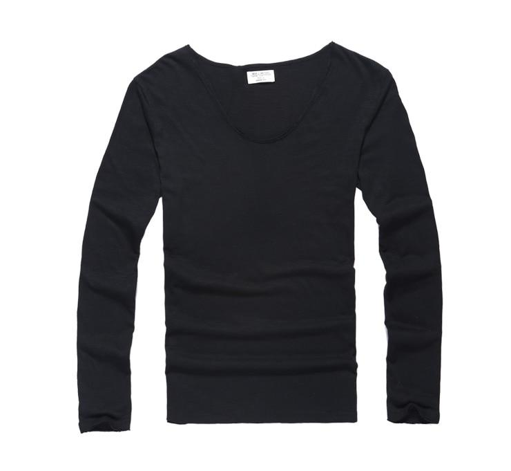 Mens U Neck T Shirt Slim Solid Long Sleeve Cotton Pullover-T-Shirts-MIX MAN Store-black-S-EpicWorldStore.com