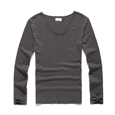 Mens U Neck T Shirt Slim Solid Long Sleeve Cotton Pullover-T-Shirts-MIX MAN Store-dark grey-S-EpicWorldStore.com
