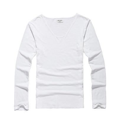 Mens U Neck T Shirt Slim Solid Long Sleeve Cotton Pullover-T-Shirts-MIX MAN Store-off white-S-EpicWorldStore.com