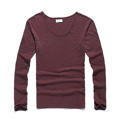 Mens U Neck T Shirt Slim Solid Long Sleeve Cotton Pullover-T-Shirts-MIX MAN Store-red wine-S-EpicWorldStore.com