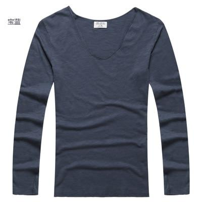 Mens U Neck T Shirt Slim Solid Long Sleeve Cotton Pullover-T-Shirts-MIX MAN Store-royal blue-S-EpicWorldStore.com