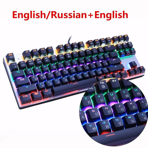 Metoo Edition Mechanical Keyboard 87 Keys Blue Switch Gaming Keyboards For Tablet Desktop Russian-Computer Peripherals-Darri Store-87 backlit black US-black switch-EpicWorldStore.com