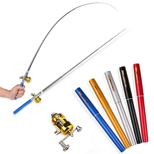 Mini Portable Pocket Fish Pen Shape Aluminum Alloy Fishing Rod Pole Reel Safety & Survival-Safety & Survival-Sexy Sporter Club-Silver-EpicWorldStore.com
