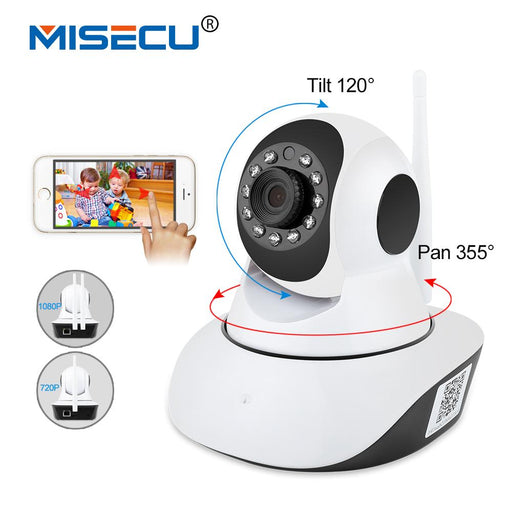 Misecu Pan Tilt 1080P Wifi Full 355 Degree Rotation 720P Camera Audio Wireless Sd Card P2P Email-MISECU Official Store-720P-EU Plug-EpicWorldStore.com