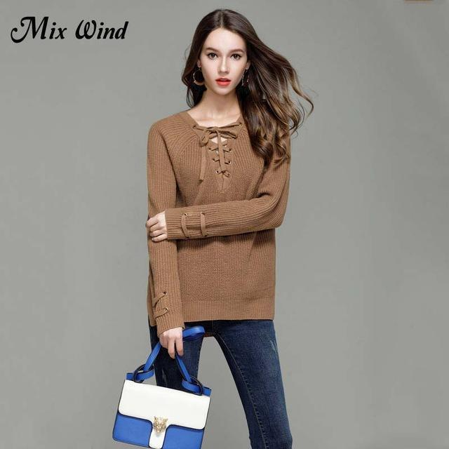 Mix Wind Knitted Winter Sweater Women Jumper Womens Novelties V Neck Pullover Stylish-Jackets & Coats-mix wind Official Store-Color four-S-EpicWorldStore.com