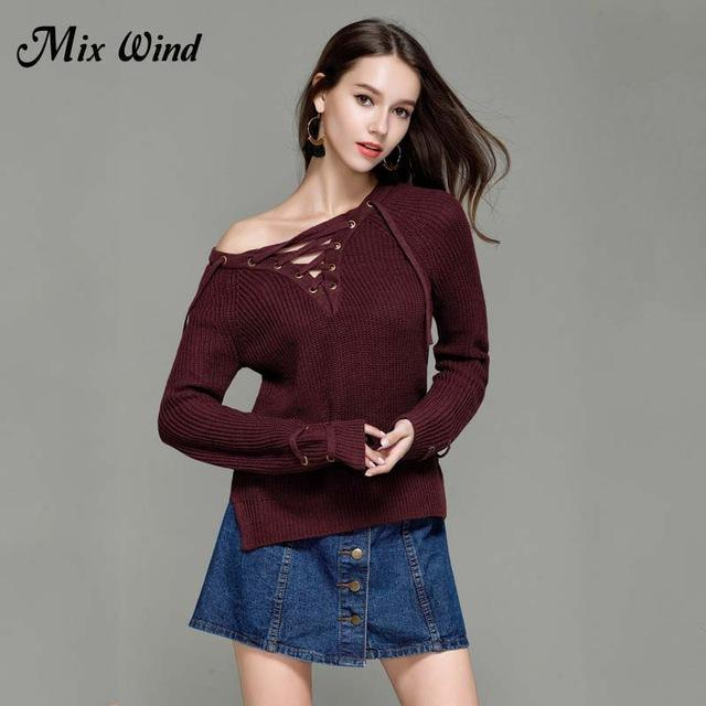 Mix Wind Knitted Winter Sweater Women Jumper Womens Novelties V Neck Pullover Stylish-Jackets & Coats-mix wind Official Store-Color two-S-EpicWorldStore.com
