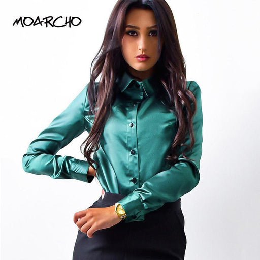 Moarcho Women Silk Satin Blouse Button Lapel Long Sleeve Shirts Ladies Office Work Elegant Female-Blouses & Shirts-MOXFCIZO Store-Pink-S-EpicWorldStore.com