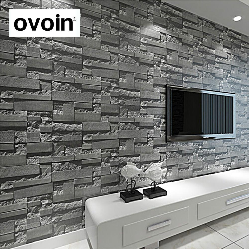 Modern Stacked Brick 3d Stone Wallpaper Roll Grey Brick Wall Background For Living Room Pvc Vinyl
