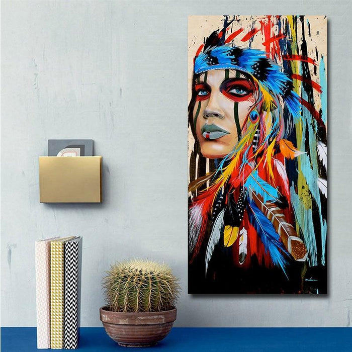 Modern Wall Art Prints Coloful Girl Feathered Women Canvas Painting For Living Room Home Decor Free-Painting & Calligraphy-GOODECOR Wall Art Store-30X60CM No frame-EpicWorldStore.com
