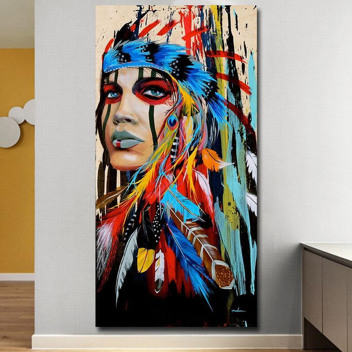 Modern Wall Art Prints Coloful Girl Feathered Women Canvas Painting For Living Room Home Decor Free