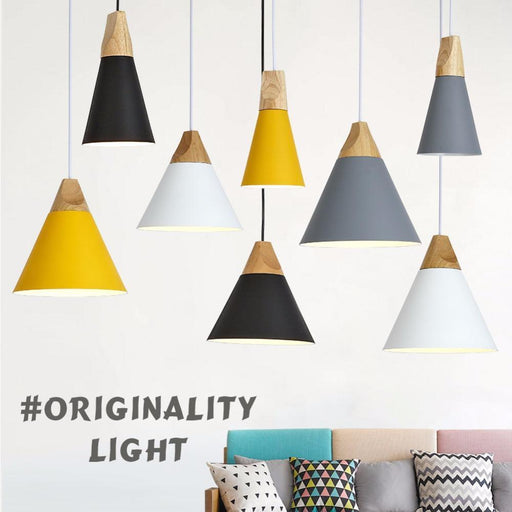 Modern Wood Pendant Lights Lamparas Colorful Aluminum Lamp Shade Luminaire Dining Room Lights-Ceiling Lighs & Fans-GEW Official Store-White Small-EpicWorldStore.com