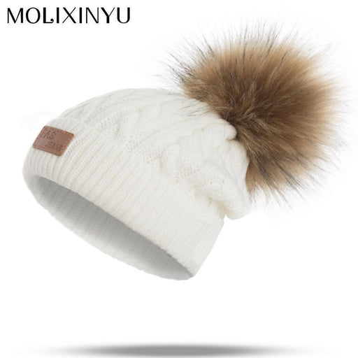 Molixinyu Pom Children Winter Hat For Girls Hat Knitted Beanies Cap Brand New Thick Baby Cap-Baby Girls Clothing-AINI BABY store-Red-EpicWorldStore.com