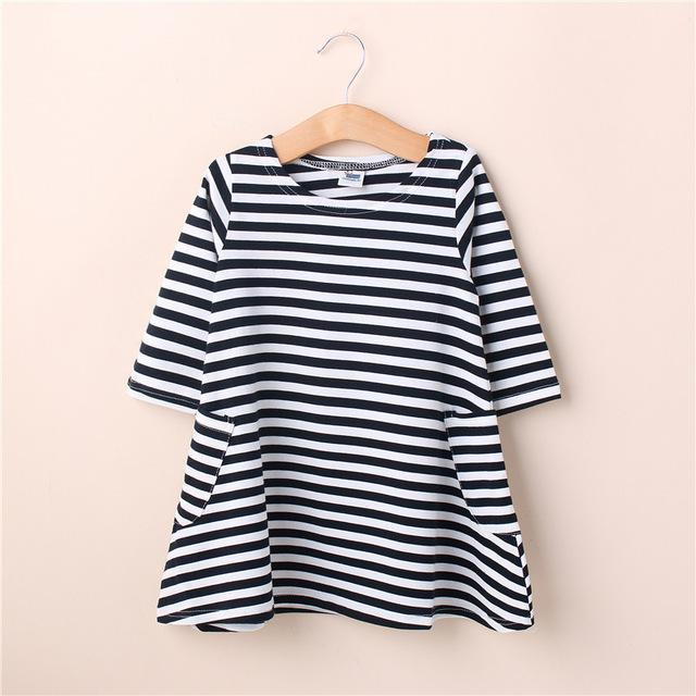 4cbc8b8cd Mom And Kids Couple Look Stripe Family Matching Outfits Baby Girls Clothes  Dress Mother-Family