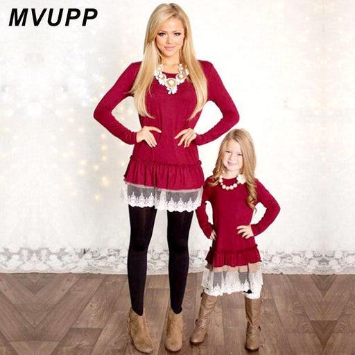 Mommy And Me Dresses Mvupp Mother Daughter Dresses Lace Patchwork Red Solid Long Sleeves-Boys Clothing-Dad mom and my surprise Store-Mom S-EpicWorldStore.com