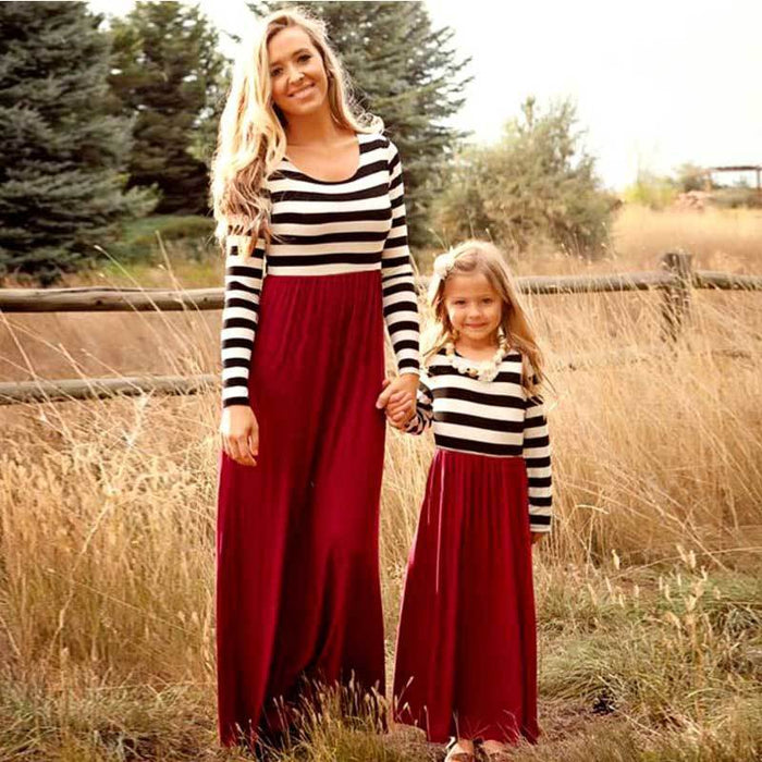 3e7a6f780d29d Mother Daughter Dresse Family Matching Clothes Striped Long Sleeve  Patchwork Mom And Daughter
