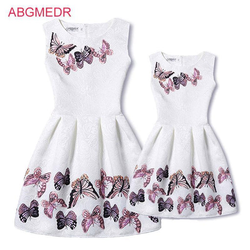 505cfedd9 Mother Daughter Dresses New Girls Vintage Printed Spring Dress Family  Matching Dress Mother-Family Matching