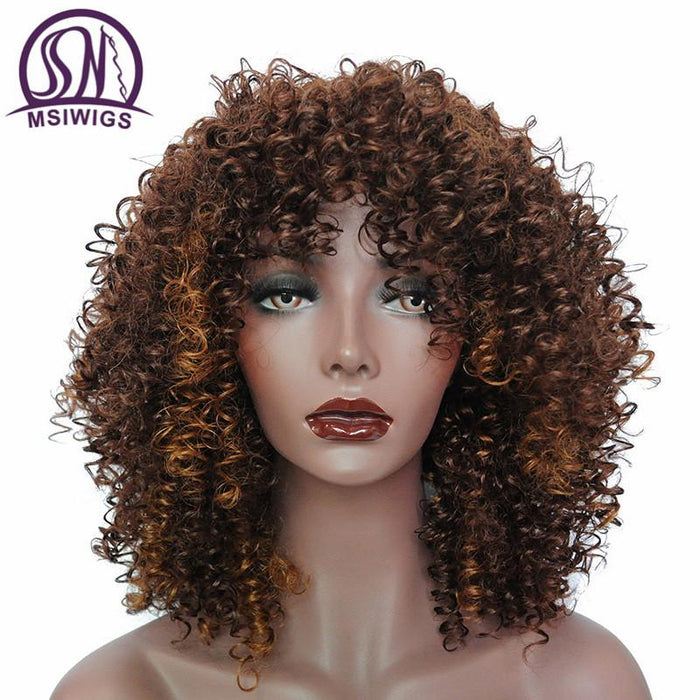 Msiwigs Ombre Short Curly Wigs For Black Women Brown Synthetic Afro Wig  With Bangs Natural Full 1c8f92e683bb