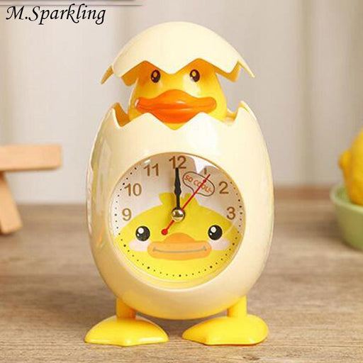 M.Sparkling Cartoon Alarm Clock Eggshell Chick Clocks Student Kids Bedroom Desktop Table-Cc Wall Clock Store Store-as picture-EpicWorldStore.com