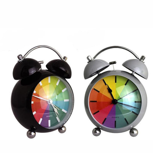 M.Sparkling Desk Clock Mute Metal Alarm Clock Rainbow Bell Clocks Home Decoration Livingroom-Cc Wall Clock Store Store-as picture-EpicWorldStore.com