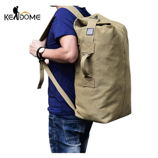 Multifunctional Military Tactical Canvas Backpack Men Male Big Army Bucket Bag Outdoor Sports Duffle-Camping & Hiking-Let's Travel Store-khaki big-EpicWorldStore.com