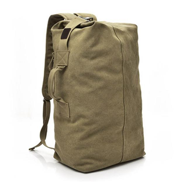 Multifunctional Military Tactical Canvas Backpack Men Male Big Army Bucket Bag Outdoor Sports Duffle-Camping & Hiking-Let's Travel Store-khaki small-EpicWorldStore.com