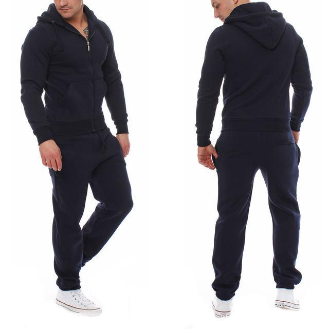 Muscle Mens Fitness Suits Workout Tracksuit Hoodie Bottoms Pants 2Pcs Sets Sportsuits-Men's Sets-Today Store-dark blue-S-EpicWorldStore.com