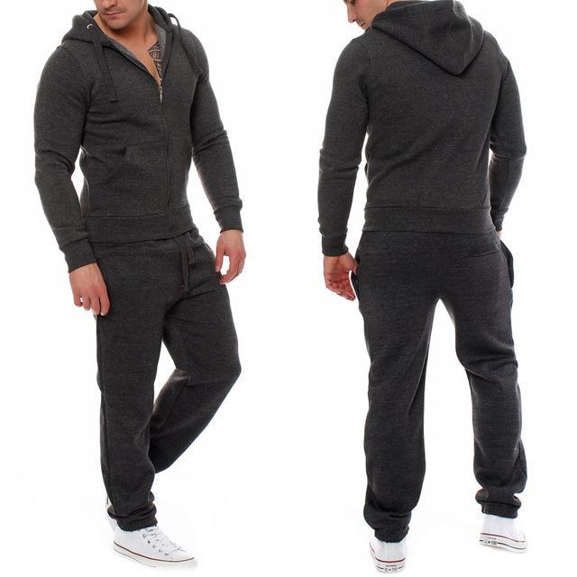 Muscle Mens Fitness Suits Workout Tracksuit Hoodie Bottoms Pants 2Pcs Sets Sportsuits-Men's Sets-Today Store-dark gray-S-EpicWorldStore.com