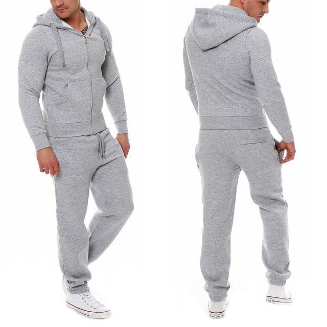 Muscle Mens Fitness Suits Workout Tracksuit Hoodie Bottoms Pants 2Pcs Sets Sportsuits-Men's Sets-Today Store-Gray-S-EpicWorldStore.com
