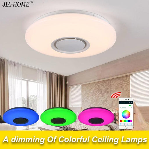 Music Led Ceiling Light With Bluetooth Control Color Changing Lighting Flush Mount Lamp For-Ceiling Lighs & Fans-Shenzhen Qi Jia Co., Ltd.-D40x40x6cm 24w-EpicWorldStore.com