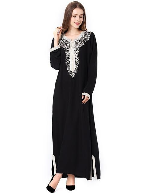 3637772748d Muslim Women Long Sleeve Hijab Dress Maxi Abaya Jalabiya Islamic Women  Dress Clothing Robe Kaftan-