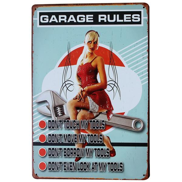 My Garage My Rules Car Iron Sign Metal Decoration Vintage Tin Plaque