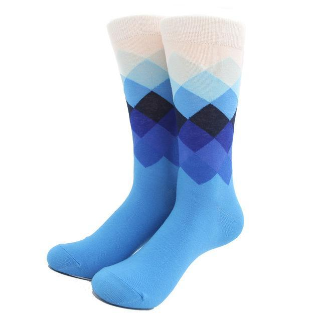 Original Male Tide Brand Men Cotton Socks Gradient Color Summer Style Long Wedding Sock Mens Knee High Business Socks Man Sox Underwear & Sleepwears
