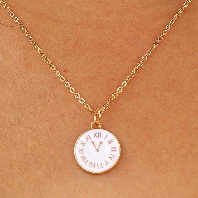 d9bcc45d99ea N949 Trendy Tiny Time Pendant Necklace Women Chain Lady Girl Gifts Bijoux  Jewelry Colar-Necklaces