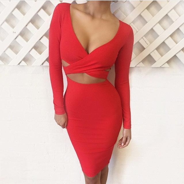 Nadafair Red Black White Long Sleeve Elastic Cotton Warm Party Dresses Vestidos Stylish Midi Pencil-Dresses-Factory To Customers-Red-S-EpicWorldStore.com