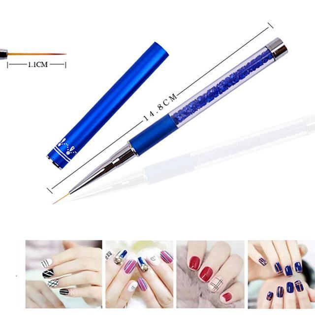 Nail Art Brush Pen Rhinestone Diamond Metal Acrylic Handle Carving Powder Gel Liquid Salon Liner-Health Care-APROMS Boutique Store-11mm-EpicWorldStore.com
