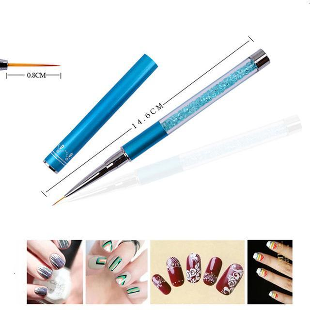Nail Art Brush Pen Rhinestone Diamond Metal Acrylic Handle Carving Powder Gel Liquid Salon Liner-Health Care-APROMS Boutique Store-8mm-EpicWorldStore.com
