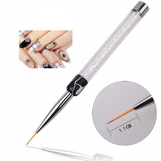 Nail Art Brush Pen Rhinestone Diamond Metal Acrylic Handle Carving Powder Gel Liquid Salon Liner-Health Care-APROMS Boutique Store-E10353-EpicWorldStore.com