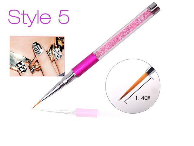 Nail Art Brush Pen Rhinestone Diamond Metal Acrylic Handle Carving Powder Gel Liquid Salon Liner-Health Care-APROMS Boutique Store-Style5-EpicWorldStore.com