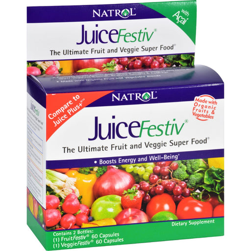 Natrol Juicefestiv And Veggiefestiv - 2 Ct - 60 Caps-Eco-Friendly Home & Grocery-Natrol-EpicWorldStore.com