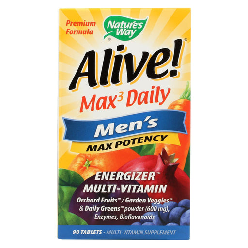 Nature'S Way - Alive! Max3 Mens Multi-Vitamin - Max Potency - 90 Tablets-Eco-Friendly Home & Grocery-Nature's Way-EpicWorldStore.com