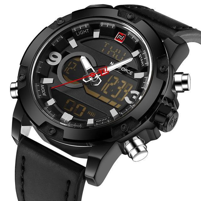 Naviforce Luxury Brand Men Analog Digital Leather Sports Watches Mens Army Military Watch Man-Men's Watches-NAVIFORCE Official Store-Black-EpicWorldStore.com